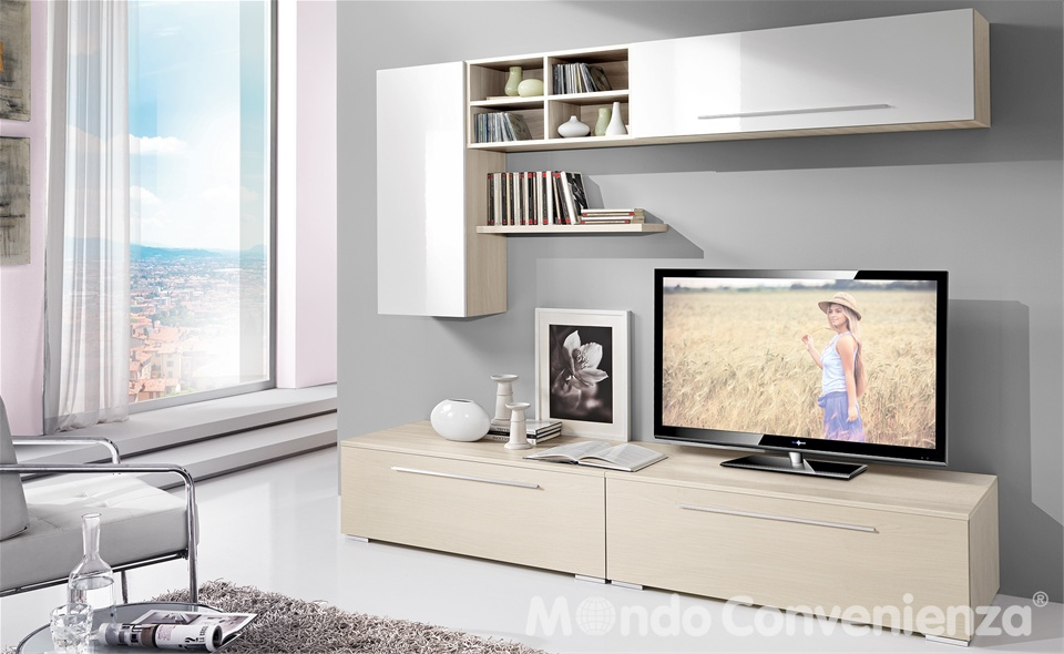 Mondo convenienza mobili in arte povera cassettiera legno for Pareti attrezzate mondo convenienza