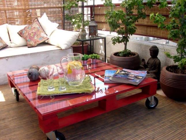 bancale con rotelle tavolino